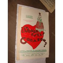 Antigua Partitura Para Piano ,donde Estas Corazon, L. Marti