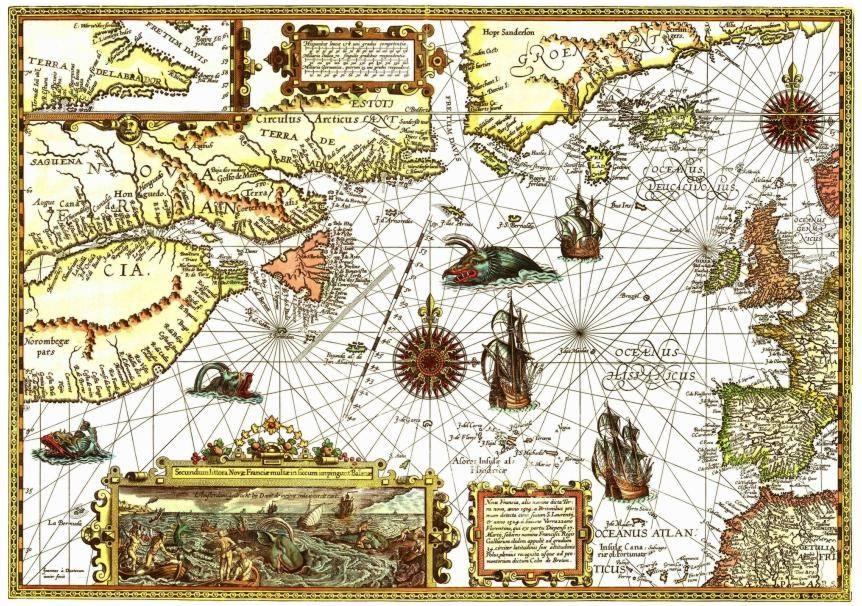 Lienzo tela mapa oceano atl ntico del norte 1592 50 x 70 for Muebles atlantico norte
