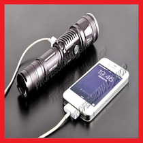 Lampara Tactica Cree Led Con Usb 2500 Lumens Recargable Zoom