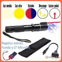 Lámpara Táctica Con Descarga Electroshock Toques Taser Laser