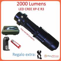 Mini Lampara Tactica 2000 Lumens Cree Led Xp-e R3 Recargable