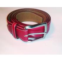 Fino Cinturón Olimpo En Piel De Alta Calidad Y En Color Rojo