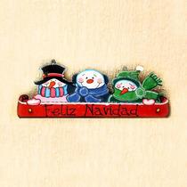 Letrero De Tres Snowman En Madera Country