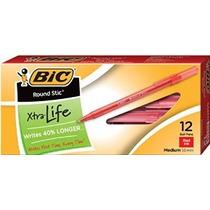 Bic Round Stic Xtra Life Ball Pen Punto Medio (1,0 Mm) Rojo