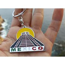 Recuerdo De Mexico Precioso Llavero Metalico Piramide 1271