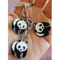Osos Panda Precioso Llavero De Dijes Acero Inoxidable 1008