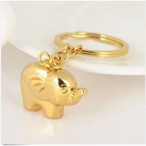 Elefante Dorado Fino Y Elegante Llavero Metálico 0126