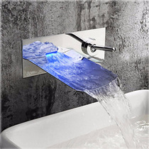 Llave Vdomus Para Baño Montaje En Pared Con Luz Led Colores
