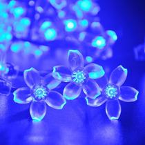 Luces Flores Solares 21ft 50 Led Azul Para Decoracion