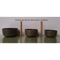 Juego De 3 Tazones Tibetanos: Chico, Mediano Y Grande