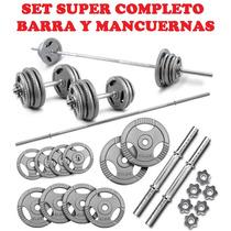 Kit De Dos Mancuernas Cromadas Y Barra 10 Discos Pesas Gym