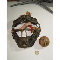 Juguete Antiguo Careta De Beisbol Baseball De Metal Y Cuero