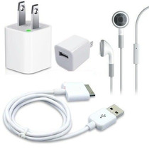 Kit Cargador Pared+ Cable Usb + Aud Mic Iphone 3g/3gs/4/4s