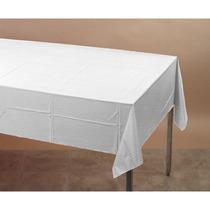 Tocar De Color Plástico-forrado Mesa Cubierta 54x108 Blanco