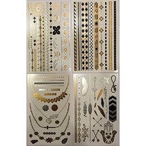 Metálicas Tatuajes Temporales (4 Diferentes Hojas) - Beautif