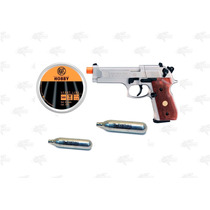 Marcadora Beretta 92 Fs Nickel Airsoft Pellet Co2 4.5mm Xtre