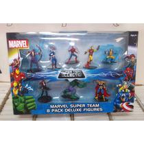 Marvel Super Team 8 Pack Deluxe Avengers Spiderman Hulk Iron