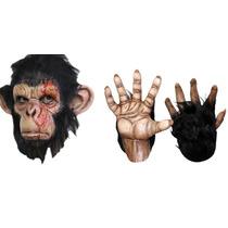 Kit Halloween Mascara Con Garras Chimpance Gorila Chango