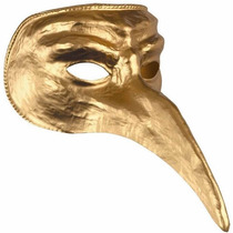 Mascara Veneciana Nariz Larga. Oro O Plata. Adulto Disfraz