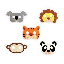 Mascaras De Animales De Jungla 5 Piezas Para Fiesta Infantil