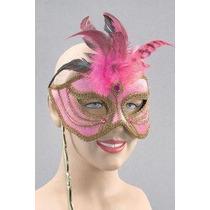 Masquerade Costume - Nueva Rosa Máscara En El Palillo Del V
