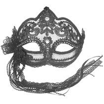 Masquerade Costume - Negro Flor Transparente Máscara Ojos