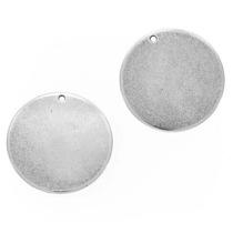 Aretes Circulares Chapados En Plata Envejecida 22mm (4)