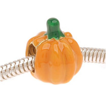 Cuenta Calabaza Orif Grande Esmalte Naranja Chap Oro 22k