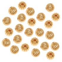 22k Cuentas Redondas Metal Estriado Platinado Oro 6mm (50)