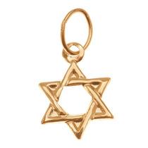 Amuleto Ligero Relleno De Oro14k Estrella De David Judía11mm