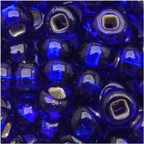 Cuentas Semilla Checas 6/0 Azul Cobalto Forrado De Plata(1oz
