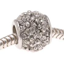 Silver Tone Ornate Daisy European Style Large Hole Bead (1)