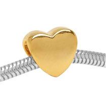 Forma De Corazón Estilo Europeo Dorado22k Hoyo Grande Bead-1