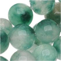 Cuentas Redondas 8mm Jade Blanco Y Verde - Hilo 38cm