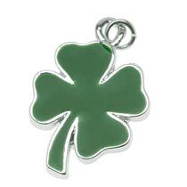 Amuleto Trébol Cuatro Hojas Verde Dos Lados Chapado En Plata