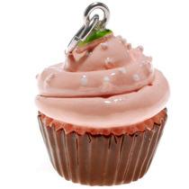 Pendiente Pintado A Mano, Rosa Y Marrón, Cupcake Con Rocío