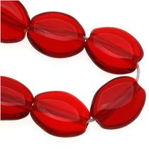 Óvalo Plano Vidrio Facetado 8 X 6mm Rojo Rubí Oscuro (25)