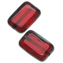 Cuentas Checas Cristal Ventana Rectangular Rojo Rubí Oscuro
