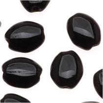 Vidrio Checo 8 X 6mm Óvalo Plano Liso Negro Jet (25 Perlas)