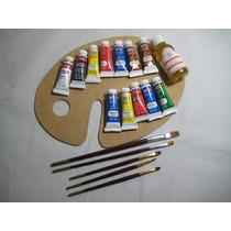 Set Oleo. Paleta, 12 Tubos Pintura, Pinceles Aceite Linaza