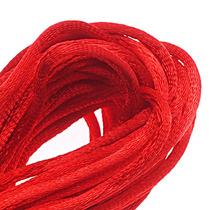 Cordón Cola De Ratón De Satén 1mm Nudo Y Trenza; Rojo 5.5 Mt