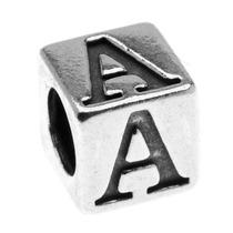 Cuenta De Cubo Abecedario Letra A De Plata De Ley 4.5mm (1)