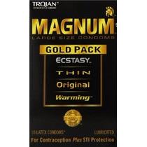 Caja Trojan Magnum Gold Edition Preservativo Grande Largo