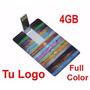 50 Pendrive 4 Gb Tarjeta Logo Full Color Ambos Lados + Funda