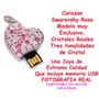 Memoria Usb Corazon Swarovsky Rosa 4gb