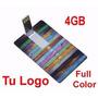 Memoria Usb 4 Gb Tipo Tarjeta Logo Personalizado Full Color