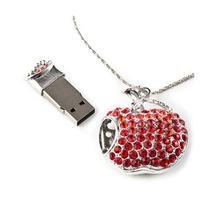 Memoria Usb 8gb En Forma De Manzana Roja Pendiente Collar