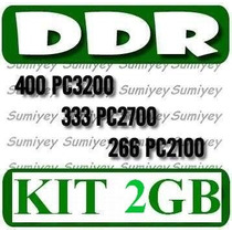 Kit De 2 Memorias Ddr De 1gb P/ Pc: Pc2100, Pc2700, Pc3200