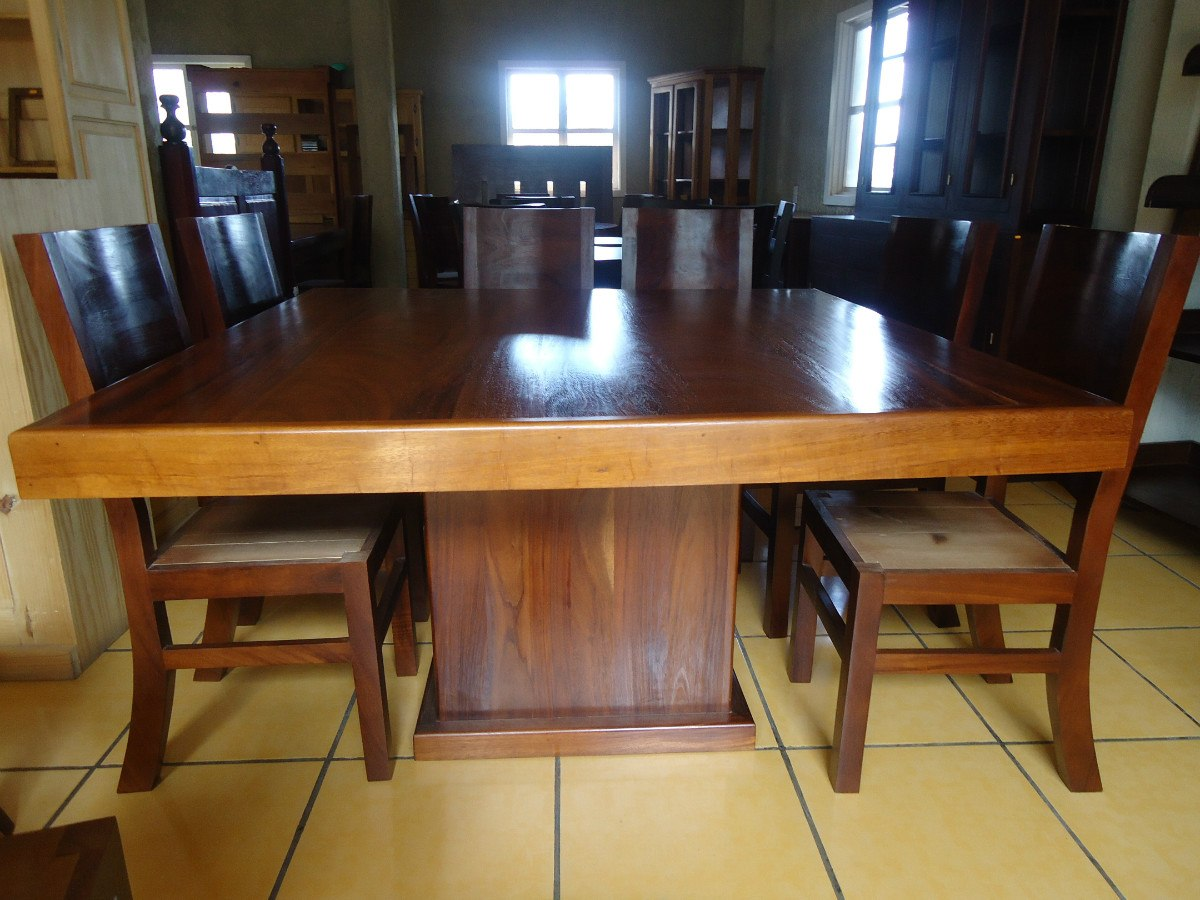 Mesa comedor con 8 sillas madera parota cuadrada for Comedor 8 sillas usado