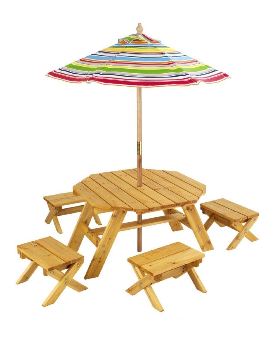 Mesa con sombrilla jardin patio para ni os kidkraft maa for Mesas para patio